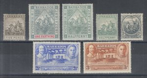 Barbados Sc 75/206 MLH. 1892-1939 issues, 7 different, small faults, F-VF appear