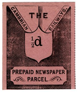 (I.B) Cambrian Railways : Prepaid Newspaper Parcel ½d (large format)