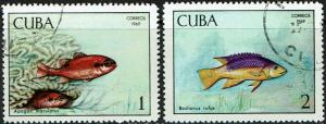 Cuba Scott 1414, 1415 (SW 1487-1488) Used/CTO (1969) Fish