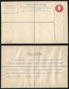 RP38 KGV 4 1/2d Puce Registered Envelope Size H CQ Under Flap mint