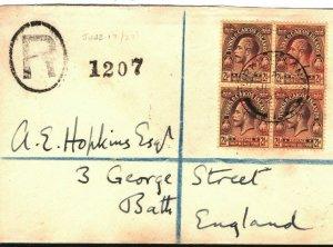 TURKS & CAICOS KGV Cover 2½d Block{4} Registered GB Bath via Jamaica 1927 PB247