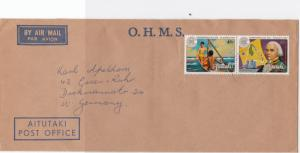 Aitutaki  O.H.M.S. air mail  stamps  cover  R19985