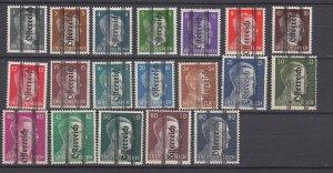 J29478 1945 WWII, austria set mh #405-23 hitler ovpt,s, see details