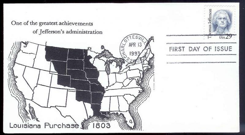 UNITED STATES FDC 29c Jefferson 1993 cacheted
