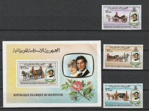 Mauritania MNH S/S & 3 stamps 480-2 Royal Marriage Diana 1981