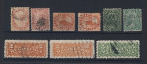 9x Canada Stamps 2ea #14-1c #15-5c #18-12 1/2c F1-2c 1xF2 Guide Value = $350.00