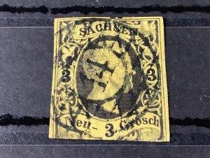Saxony 1851 Grid Number cancel 14 for Bautzen  Stamp 57188