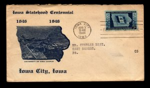 SC# 942 FDC / U of Iowa Campus Cachet / Minor Creases / Open Top - N485