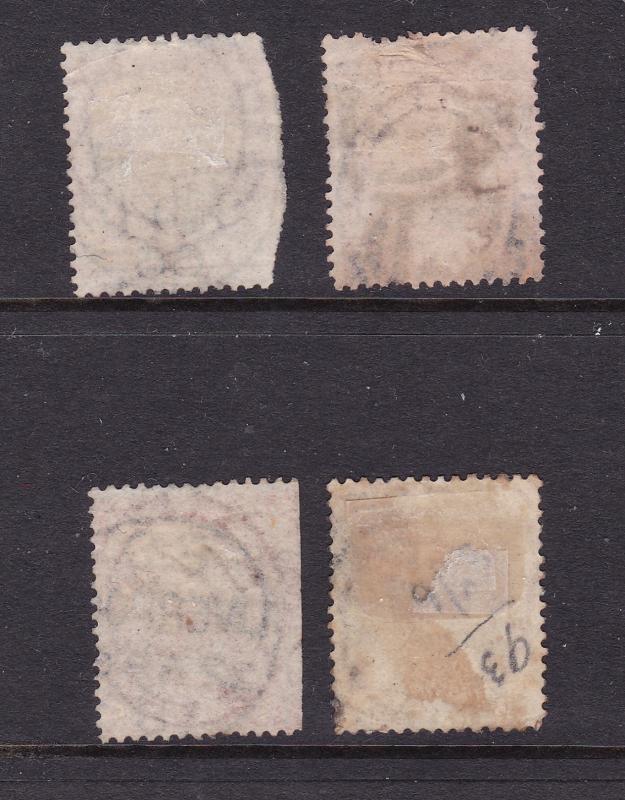 Great Britain x 4 1865 QV 4d plates 7,9,10 & 12