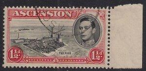 Ascension Island 1938 - 53 KGV1 1 1/2d Black & Vermilion used SG 40 ( 924 )
