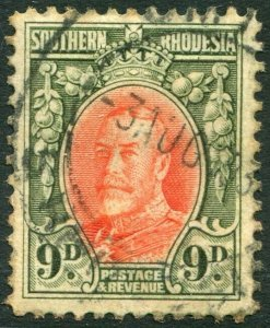 SOUTHERN RHODESIA-1934 9d Vermilion & Olive-Green Sg 21b GOOD USED V35951