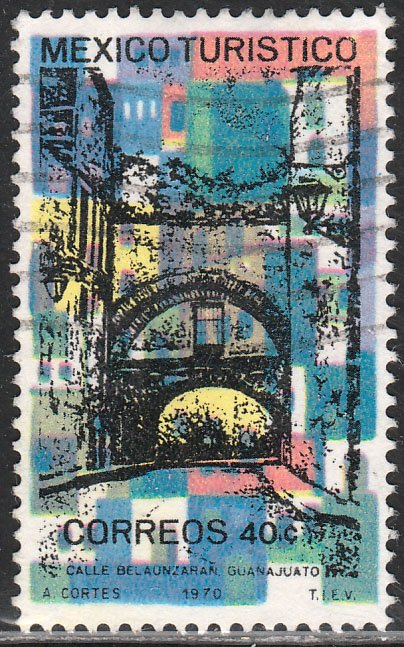 MEXICO 1012, TOURISM PROMOTION, GUANAJUATO CITY STREET. USED. VF.  (1248)
