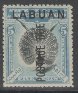 LABUAN SGD4 1901 5c BLACK & PALE BLUE MTD MINT