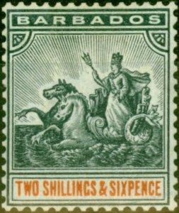 Barbados 1892 2s6d Blue-Black & Orange SG114 Fine Mtd Mint Stamp
