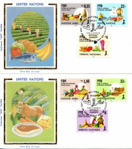 UN NY FDC #519-520, Geneva 162-163, Vienna 78-79 Hunger Combo, Colorano (4487)