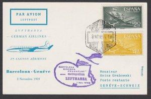 SPAIN 1959 Lufthansa first flight postcard to Geneva Switzerland............F975