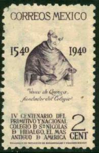 MEXICO 760, 2c School of San Nicolas, 1st in America Unused, NO GUM. VF,