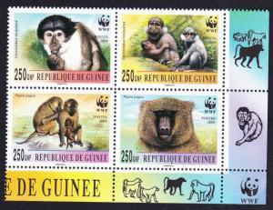 Guinea WWF Mangabey and Baboon Bottom right block 2*2 with WWF Logo