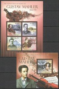 BC1057 2011 Mozambique Famous Personas Música Centenario Gustav Mahler Bl+ KB