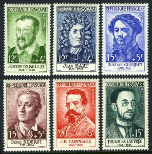 France B321-B326, MNH. du Bellay,Diderot,Courbet,Carpeaux,Toulouse-Lautrec, 1958
