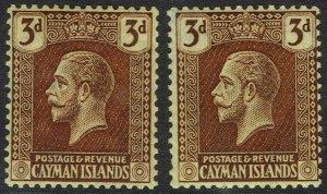 CAYMAN ISLANDS 1921 KGV 3D BOTH SHADES WMK MULTI CROWN CA