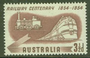 Australia Scott 275 MH* 1954 Locomotive stamp
