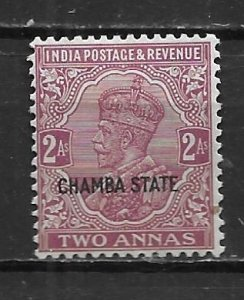 India Chamba 53 2a George V single Unused Hinged