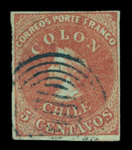 CHILE 1853 COLUMBUS - London (Perkins Beacon) - 5c red brown Scott # 1 used XF