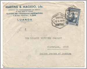 ANGOLA (Portugal) 1945 Advertising Cover - Car Batteries and Tires - 1.75 DeGama