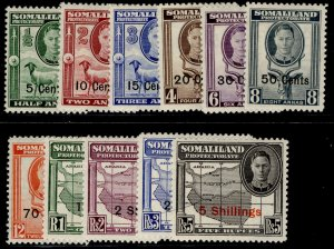 SOMALILAND PROTECTORATE GVI SG125-135, complete set, LH MINT. Cat £55.