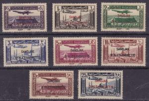 Alexandretta 1938 Airmails (8) C1-C8 Complete. French in Syria. VF/Mint/(*)