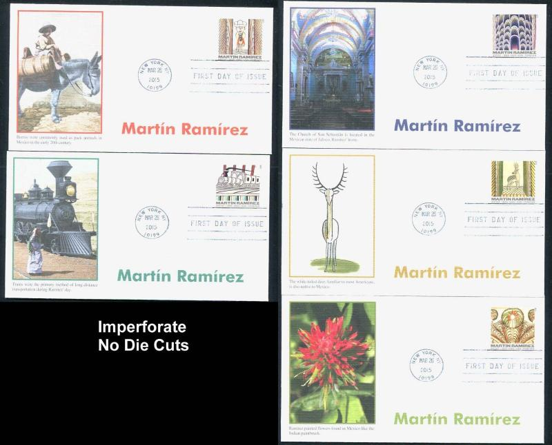 4968-72 Imperf No Die Cuts Martin Ramirez Set of 5 Fleetwood FDCs  2015 Forever