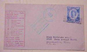 TONGA TIN CAN  CANOE MAIL 1934 SHIP MARIPOSA 13 AUG. BLUE CANCEL