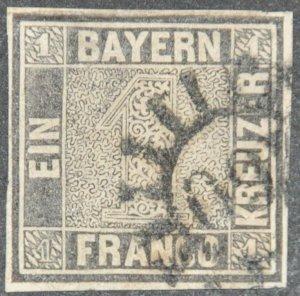 DYNAMITE Stamps: Bavaria Scott #1 – USED