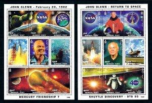 Mongolia space1998 M: 2913/2921+M: 2922/2930 GLENN - NASA (40 YEARS)