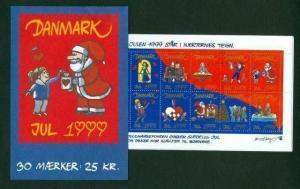 Denmark.  Booklet  1999  30 Christmas Seals  Mnh.  Valentines. Santa. Dog,Cat.
