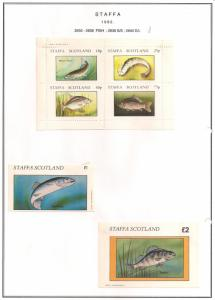 SCOTLAND - STAFFA - 1982 - Fish #3 - Perf 4v, Souv, D/L Sheets - MLH