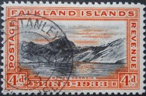 Falkland Islands 1933 GV Centenary 4d SG 132 used