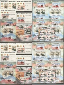 BU149 PERF,IMPERF 2012 BURUNDI TRANSPORT HELICOPTERS 12KB+2BL+10 LUX BL MNH