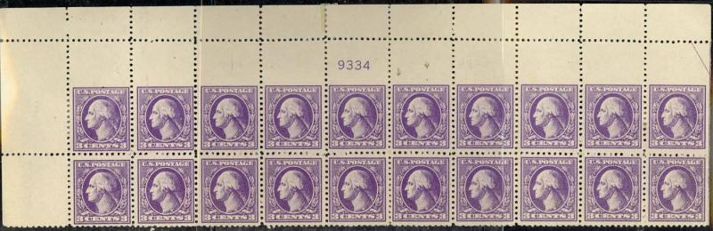 529 Var, MISPERFED ERROR PLATE BLOCK OF 20 SHOWPIECE!