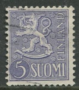 Finland - Scott 315 - Arms of Finland -1954- FU - Single 5m Stamp