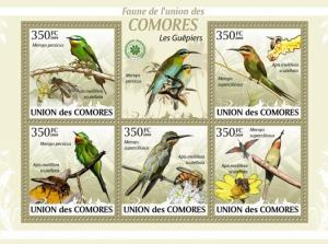 COMORES 2009 SHEET BIRDS BEE EATERS ABELHARUCOS GUEPIERS OISEAUX BEES cm9413a