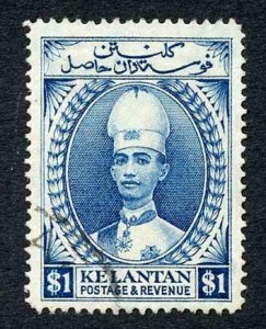 Kelantan SG39 One Dollar Blue Perf 14 Fine used Cat 50 pounds