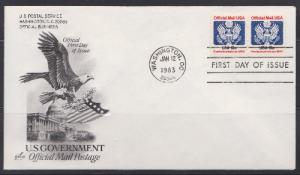 O129 13 cent Official Mail Unaddressed ArtCraft FDC