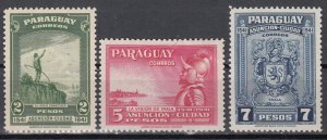 Paraguay, Sc 395-397, MH, 1942, #396 Repaired on back