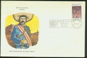 MEXICO 1185, BIRTH CENTENNIAL OF EMILIANO ZAPATA, REVOLUTIONARY LEADER. FDC VF.