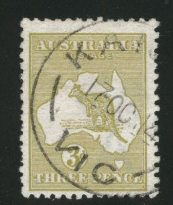 AUSTRALIA  Scott 5 the 3 p  Kangaroo Map stamp 1913