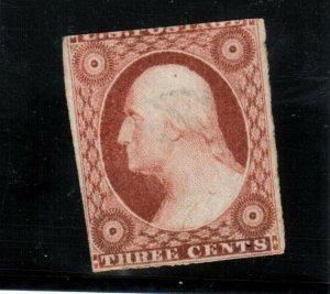 USA #10 Mint Fine Full Original Gum Relatively Lightly Hinged Handstamp On Back