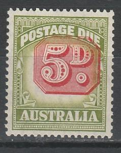 AUSTRALIA 1946 POSTAGE DUE 5D MISPLACED CENTER  MNH ** WMK C OF A