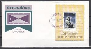 Grenada, Gr., Scott cat. 2191. Composer Bach s/sheet. First day cover.